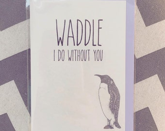 Animal Greeting Card, Penguin, Miss You, Pun Humor Humour, Funny Card, Love and Friendship, Romance, Alternative Cards, Little Dot Creations