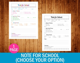 Note for School (Choose Your Option) - PDF Printable