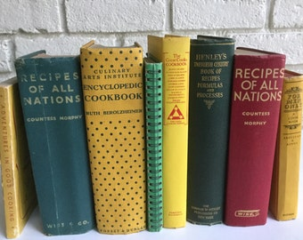 Yellow/Red/Green Cookbook Collection 8 Bookshelf Decorators Vintage  Display