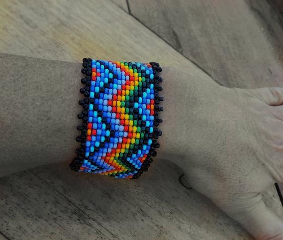 Rainbow Bead Bracelet Original Fashion Design Extravaganza Gift Designer Cuff Wide Men Women