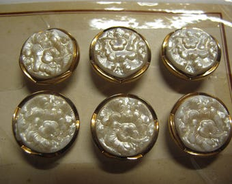 6 cream 1920's glass buttons with floral detail and gold edge 18 mm diameter 020517/41