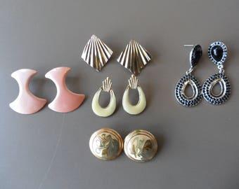Vintage Pierced Earring Lot Costume Jewelry Lot Wearable Junk Drawer Lot Black Rhinestone Earrings Tear Drop Geometric Peach Enamel 5 Pairs