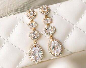 Bridal Earrings Wedding Long drop Earrings Bride jewelry Wedding Earrings gold earrings long drop earrings wedding gift E341-G