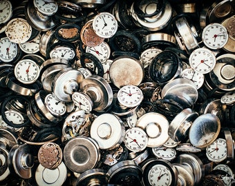 Still Life Photography, black, white, rust colored time pieces, clocks, watch parts, eclectic, fine art photography print, metal or canvas