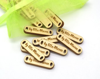 Product Tags - Customized with your text - 0.35 x 1.25 Inch - laser cut and engraved