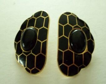 MONA SO  Fabulous Black enamel Cabochon Animal Print 80's Earrings.