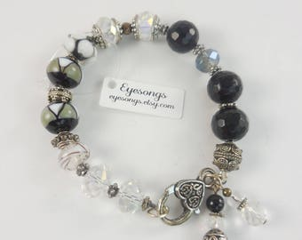 Chunky black and antiqued silver bracelet,