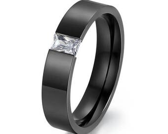 Modern 18 KT Black Gold Plated Band Tension Crystal Ring