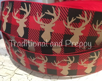 "1.5"" red black Buffalo plaid deer head glitter outdoor themed grosgrain"