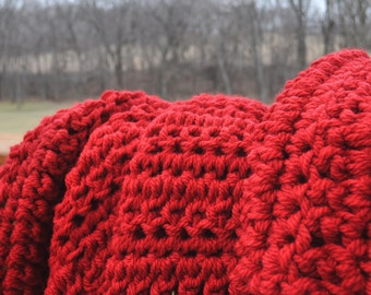 FREE SHIPPING-Crochet Blanket- Deep Red, Super Bulky- Super Chunky Wool Blend Yarn, Made with Two Strands For an Extra Thick Blanket