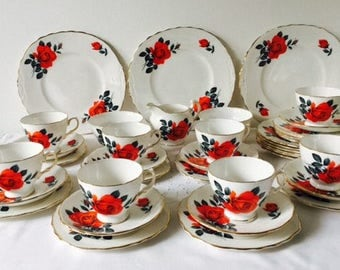 Royal Vale Red Rose Tea Set, 39 Pieces, Staffordshire, 1960s.