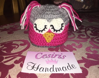 Hat OWL crochet newly born