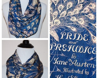 Jane Austen, Pride and Prejudice, Book Cover Circle Scarf, Infinity Scarf