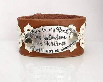 He is my Rock - My Salvation - My Fortress - I Will Not Be Shaken - Psalm 62:2 - Religion - Lace - Bracelet - Leather Cuff - Bible Verse