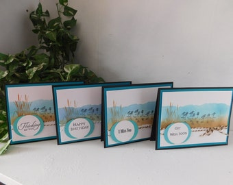 Sand Piper Cards, Set of 4, Happy Birthday, Thinking of you, I Miss you, Get Well Soon