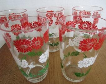 5 Vintage Swanky Swig Juice Glasses/Small Vintage Glasses/Flowered Glasses/Red,White, Green Glasses/Vintage Kitchen Ware//