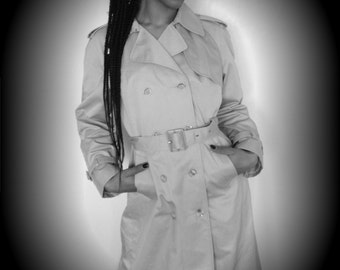 Vtg 90's MILITARY look neutral double breasted belted trench coat M/L