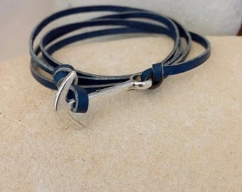 Sailing Anchor leather bracelet