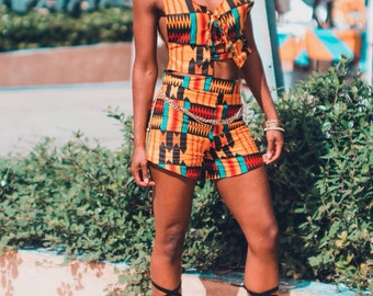 Kira Lace-Up Kente Top & Highwaist Shorts