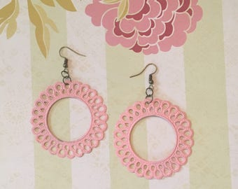 Light Pink Hand Painted Filigree Earrings