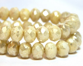 8x6mm Ivory Mercury Czech Beads, Ivory Beads, Ivory Rondelles, Czech Rondelles, Cream Rondelles, Ivory Donut Beads, T-81B