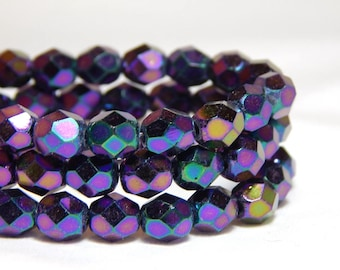 6mm Iris Purple Beads, Purple Beads, Iridescent Beads, Iris Purple Beads, 6mm Purple Crystal Beads, Faceted Beads, 6mm Purple Beads, T-40C