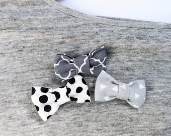 Bow| Bow Brooch| Fabric Brooch| Children's Brooche| Children's Jewelry| Grey Bow| Mintgreen Bow| Black and White Bow