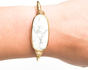 European Howlite Gold Cuff Bracelet/Chic Bangle