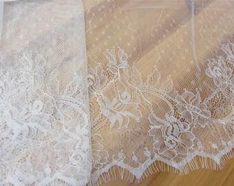 Exquisite Chantilly Lace, Eyelash Lace Trim in Black For Wedding, Shawls, Black Skirt, Lingerie,white lace trim