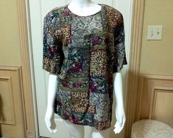 Vintage Jaqueline Ferrar Barroque Style Silk Blouse /Office Silk Blouse/Retro look Silk Blouse size S/M