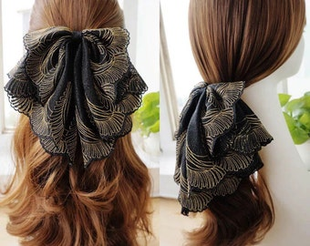 Oversized French Lace Hair Bow Barrette, Adelaide - black & gold, big hair bow, large bow