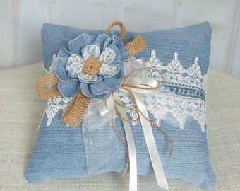 Rustic Ring Bearer Pillow, Denim and Burlap Ring Bearer Pillow, Country Chic Wedding Ring Pillow, Burlap*Lace*Denim - RB0083