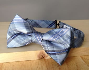 Bowtie - Baby blue plaid with pink and blue stripe - pre-tied - groom - unique bow tie - classy - smart casual - summer wedding