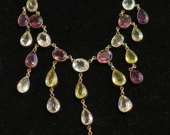Bib Neckace with semi precious stones set in Siver