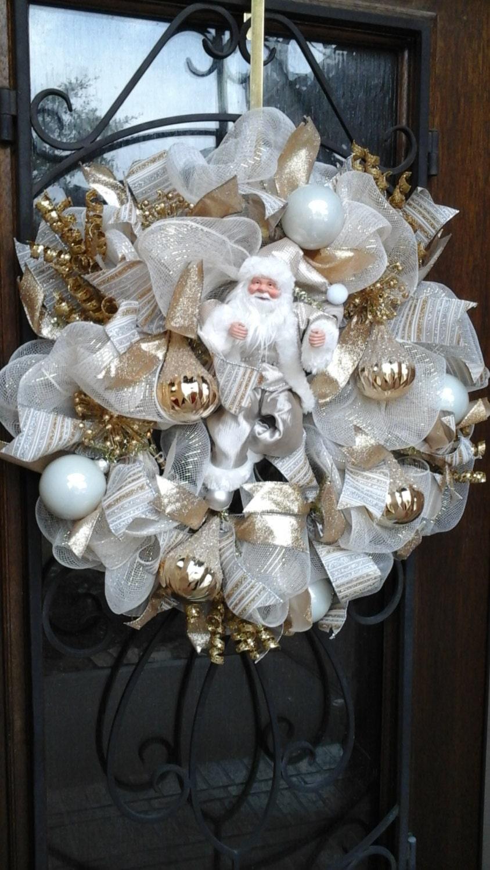 Gold And White Shimmer Santa Deco Mesh Wreath Santa Wreath