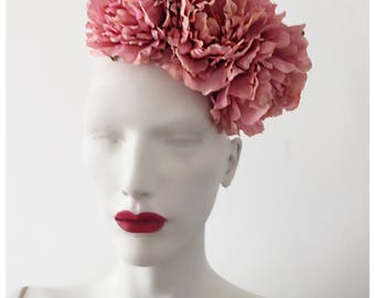 Pink/Coral Peony Fascinator/ Races Fascinator Ref:085