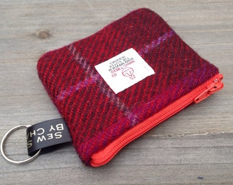 Harris tweed coin purse in cerise check with key ring loop