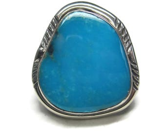 Vintage Sterling Traditional Navajo Turquoise Ring Size 7