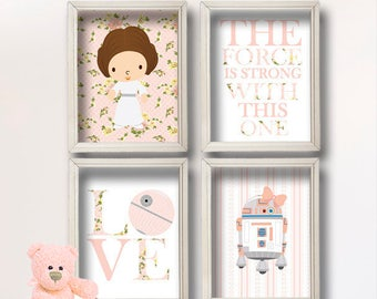 Baby Girl Star Wars Nursery Art- Girl Room Decor Shabby Chic - Star Wars Decor - Baby Shower Gift - Nursery Girl   GR-127 Peach