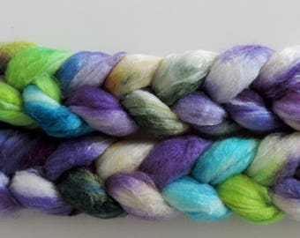Polwarth-Silk,Mermaid, speckled dyed,top, roving for spinning and felting