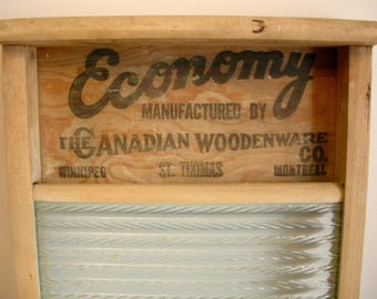 Antique Wood and Glass Full Size Wash Board ~ Made by Canadian Woodenware Co. ~ Economy Model