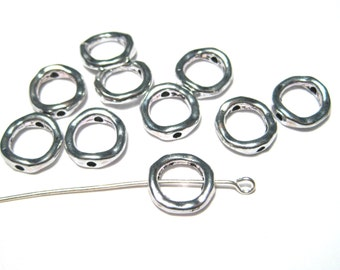 20pcs Small Antique Silver Metal Bead Frames 11mm