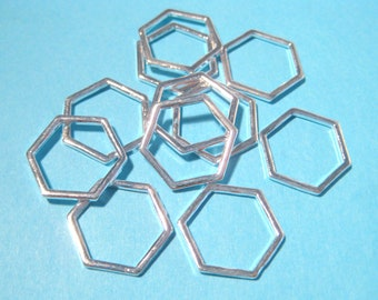 Silver Plated Hollow Hexagons Links Connectors 17mm(No.574)