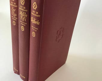 Trio of Antique Red Leather Bound Guy de Maupassant Short Stories circa 1923