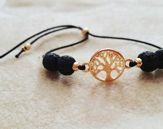 Essential Oil Lava Stone Bracelet - adjustable - gold tree of life - black - Essential Oil Diffuser - Bracelet
