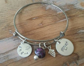 Personalized Charm Bracelet, Wine Gifts for Women, Wine Jewelry, Bracelet, Gunmetal Charm Bracelet