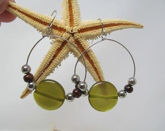 Boho Hook Silver Green Earrings