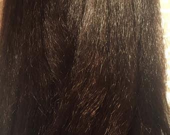 Enredo de castaño medio 100 por ciento cabello Kanekalon, largo 48 pulgadas de suave y sedoso y resistente al calor pelo para extensiones o trenzas, muñeca Reroots