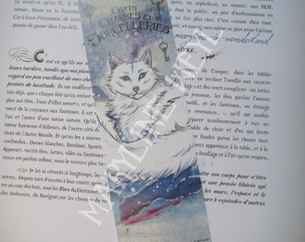 "Bookmark ""cats, charms and sorceries"" Snow Cat"