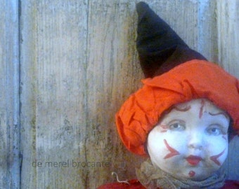 antique French pierrot  clown doll